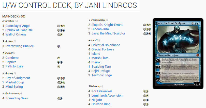 Jani Lindroos 2010 SM deck list