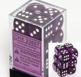 Chessex Dice Set 12xD6 16mm, Translucent Purple with White Pips