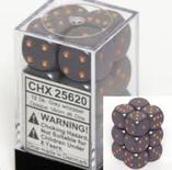 Chessex Dice Set 12xD6 16mm, Opaque Dark Grey with Copper Pips
