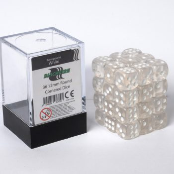 Blackfire Dice Cube, 36x 12mm D6, Transparent White