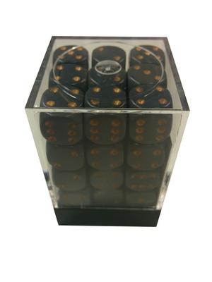 Chessex Dice Set 36xD6 12mm, Opaque Dark Grey with Copper Pips