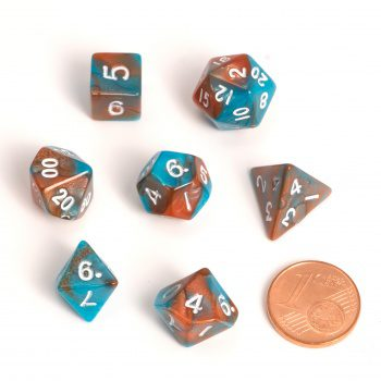 Blackfire Fairy Dice Set  (7x 9-12mm, Orange/Blue)