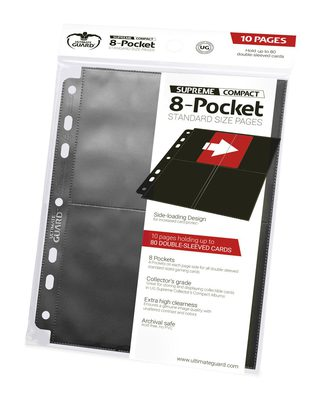 Ultimate Guard 8 Pocket Side-Loading Compact Binder Page, Black (10pcs)