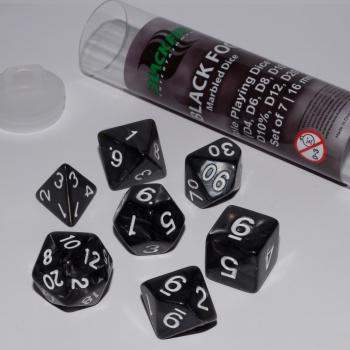 Blackfire Dice Set (7x 16mm Dice, Black Fog)