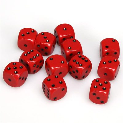 Chessex Dice Set 12xD6 16mm, Opaque Red with Black Pips