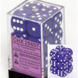 Chessex Dice Set 12xD6 16mm, Opaque Purple with White Pips