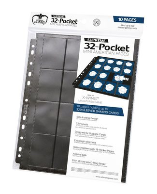 Ultimate Guard 32 Pocket Binder Page Mini American, Black (10pcs)