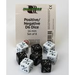 Blackfire Dice Set Positive/Negative (8xD6 16mm, Opaque Black/White)