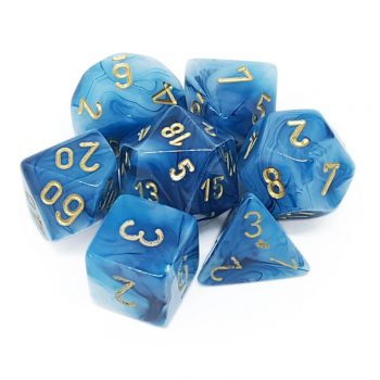 Chessex Dice Set 7x Polyhedral, Phantom Teal with Gold Pips