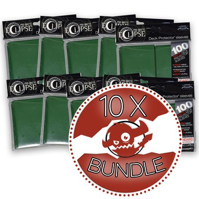 Ultra Pro Sleeves Standard Size Eclipse, Forest Green Bundle (10 Packs, 100 Sleeves Per Pack)