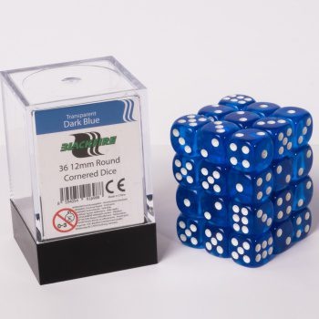 Blackfire Dice Cube, 36x 12mm D6, Transparent Dark Blue