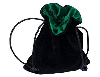 Blackfire Velvet Dice Bag with Satin Lining: Black with Green
