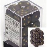 Chessex Dice Set 12xD6 16mm, Opaque Black with Gold Pips