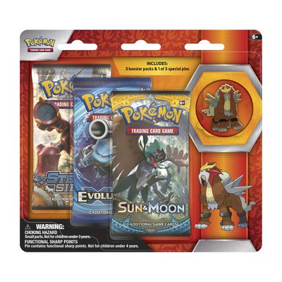 Pokemon Collector's Pin 3 Pack Blister: Entei