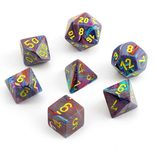 Chessex Dice Set 7x Polyhedral, Festive Mosaic with Yellow Pips