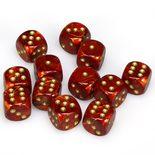 Chessex Dice Set 12x16mm, Scarab Scarlet with Gold Pips
