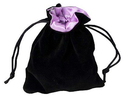 Blackfire Velvet Dice Bag with Satin Lining: Black with Pink