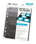 Ultimate Guard 14 Pocket Compact Binder Page Standard Size & Mini American, Black (10pcs)