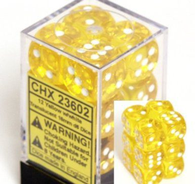 Chessex Dice Set 12xD6 16mm, Yellow with White Pips