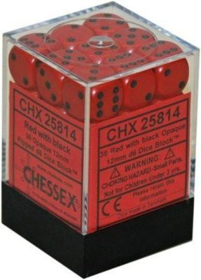Chessex Dice Set 36xD6 12mm, Opaque Red with Black Pips
