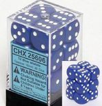 Chessex Dice Set 12xD6 16mm, Opaque Blue with White Pips