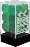 Chessex Dice Set 12x16mm, Borealis Light Green with Gold Pips