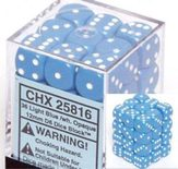 Chessex Dice Set 36xD6 12mm, Opaque Light Blue with White Pips