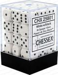 Chessex Dice Set 36x D6 12mm, Opaque White with Black Pips