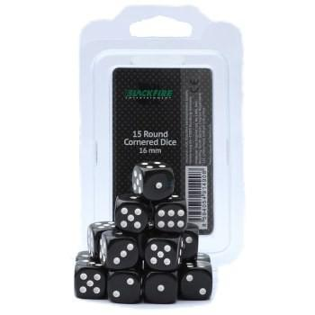 Blackfire Dice Set (15xD6 16mm, Opaque Black)
