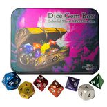 Blackfire Dice Gem Box, Metal RPG Dice Set (7pcs)