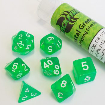 Blackfire Dice Set (7x 16mm Dice, Crystal Green)