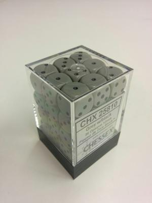 Chessex Dice Set 36xD6 12mm, Opaque Grey with Black Pips