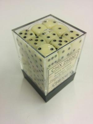 Chessex Dice Set 36xD6 12mm, Opaque Ivory with Black Pips