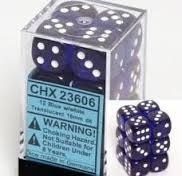 Chessex Dice Set 12xD6 16mm, Translucent Blue with White Pips