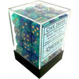 Chessex Dice Set 36x D6 12mm, Gemini Blue-Teal with Gold Pips