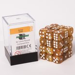 Blackfire Dice Cube, 36x 12mm D6, Marbled Gold