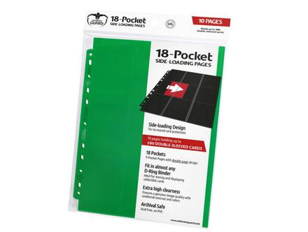 Ultimate Guard 18 Pocket Side-Loading Binder Page, Green (10pcs)
