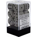 Chessex Dice Set 12xD6 16mm, Opaque Grey with Black Pips