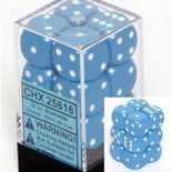 Chessex Dice Set 12xD6 16mm, Opaque Light Blue with White Pips