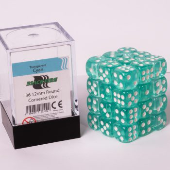 Blackfire Dice Cube, 36x 12mm D6, Transparent Cyan