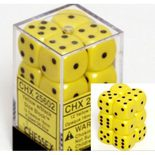 Chessex Dice Set 12xD6 16mm, Opaque Yellow with Black Pips