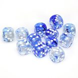 Chessex Dice Set 12xD6 16mm, Nebula Dark Blue with White Pips