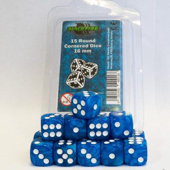 Blackfire Dice Set (15xD6 16mm, Marbled Light Blue)