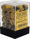 Chessex Dice Set 36x D6 12mm, Gemini Black-Gold with Silver Pips
