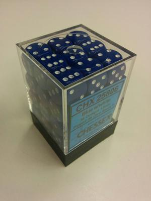 Chessex Dice Set 36xD6 12mm, Opaque Blue with White Pips