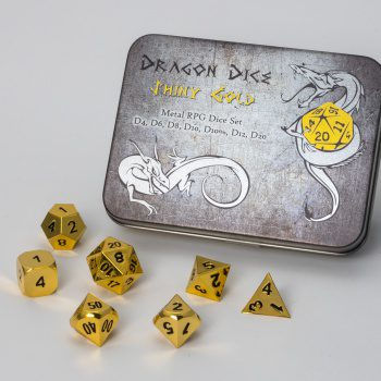 Blackfire Dice Set Solid Metal: Shiny Gold