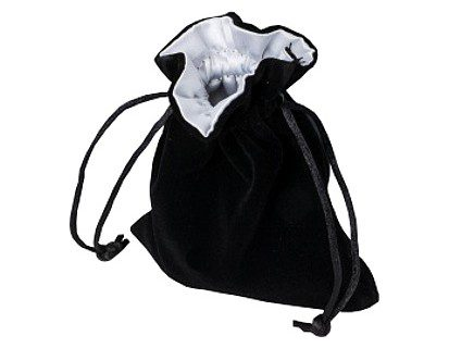 Blackfire Velvet Dice Bag with Satin Lining: Black with White