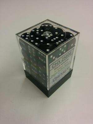 Chessex Dice Set 36xD6 12mm, Opaque Black with White Pips