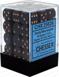 Chessex Dice Set 36x D6 12mm, Dusty Blue with Gold Pips