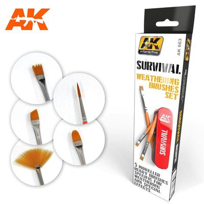 AK Interactive Survival Weathering Brushes Set